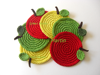 Crochet Coasters Apples