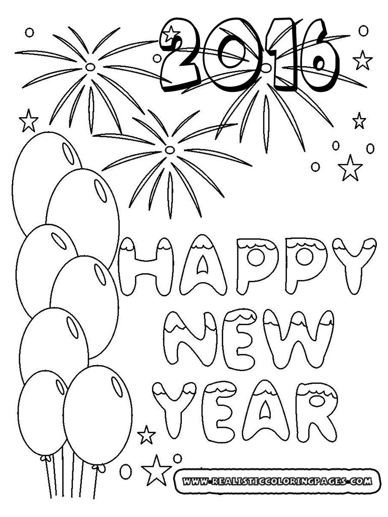 free happy new year coloring pages - happy new year coloring pages 2016 realistic coloring pages