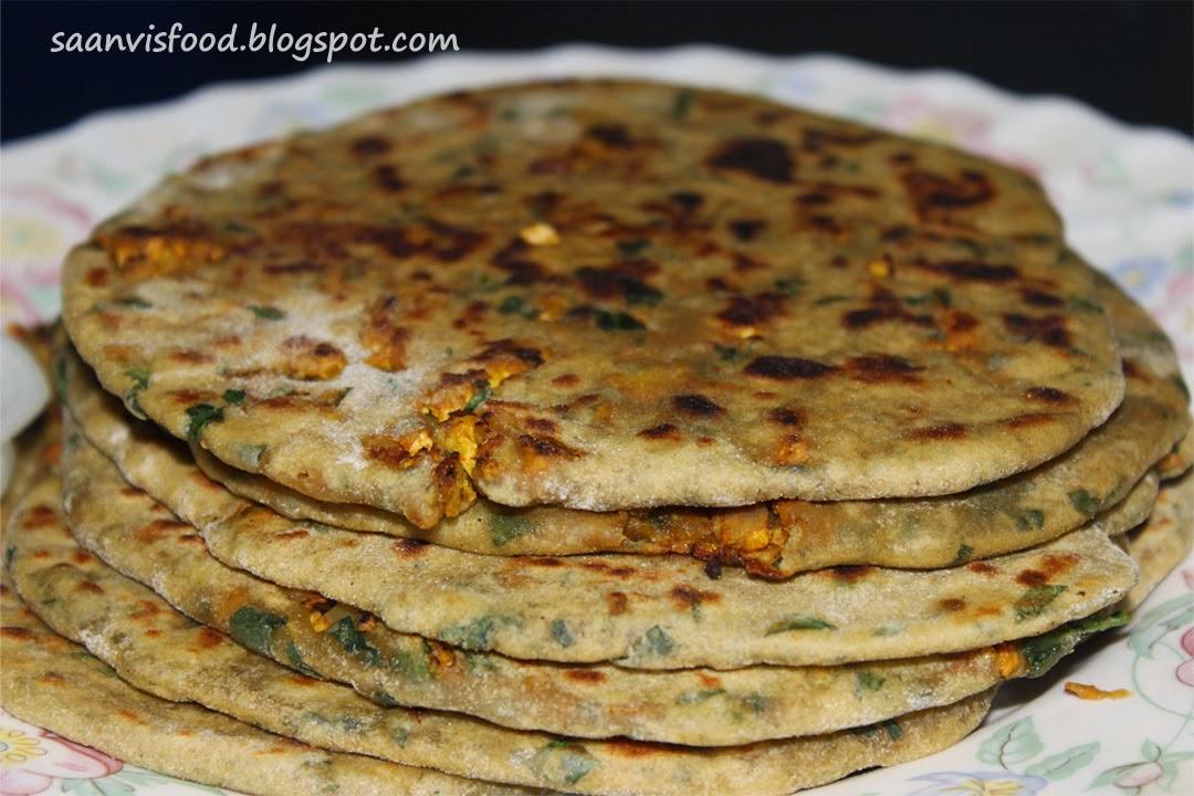 Scrambled Egg  & Cabbage Stuffed Palak Paratha