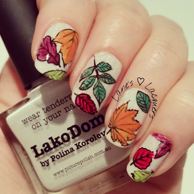 Thatleanne Firey Autumn Leaves Nail Art: Lane's Lacquers: Monday Manicure: Autumn Leaves
