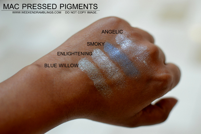 mac pressed pigments makeup collection indian beauty blog darker skin swatches eyeshadows blue willow enlightening smoky angelic
