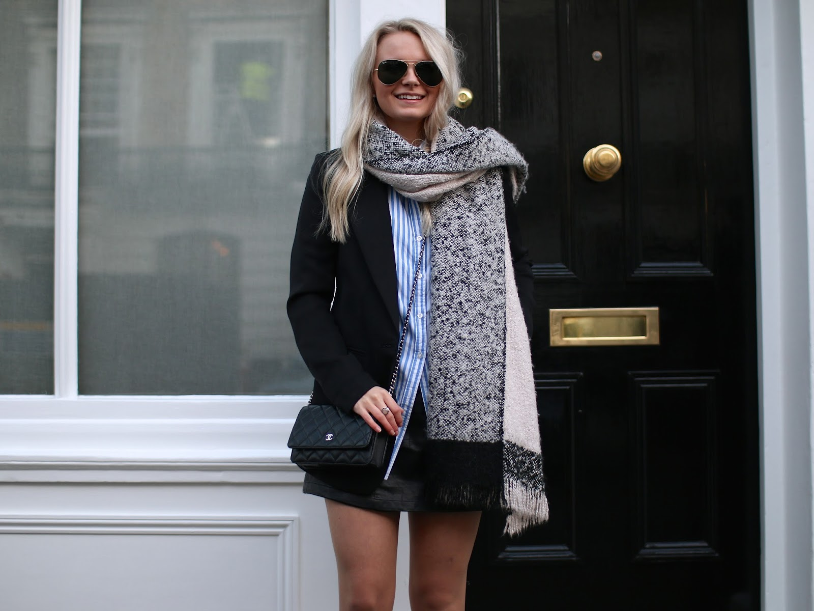 neutral river island scarf and chanel wallet on chain