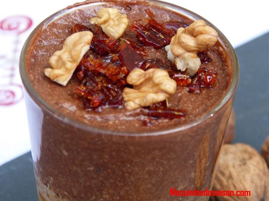 Verrine poires caramélisées et mousse au chocolat noir