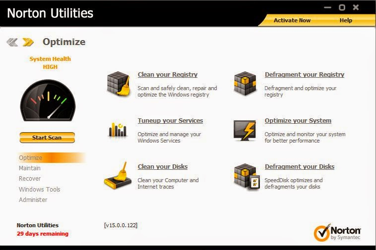 Suitable for Windows 8/7/Vista/XP Personal computers, the Norton Resources, like recent variations, features a remaining sidebar that allows you to look into the Improve, Monitor, Home windows Tools, and Dispense sections.