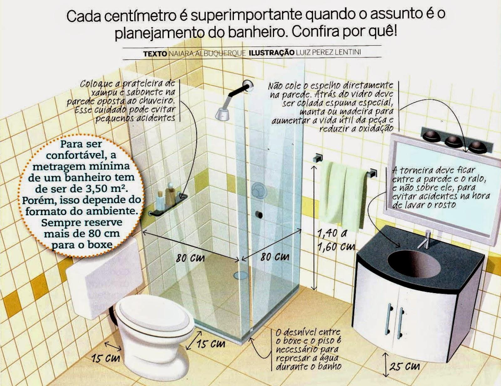 Tudo Calculado  Banheiro  Morar a Do -> Banheiro Pequeno Metragem