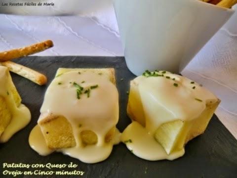 Patatas en cinco minutos con queso de oveja