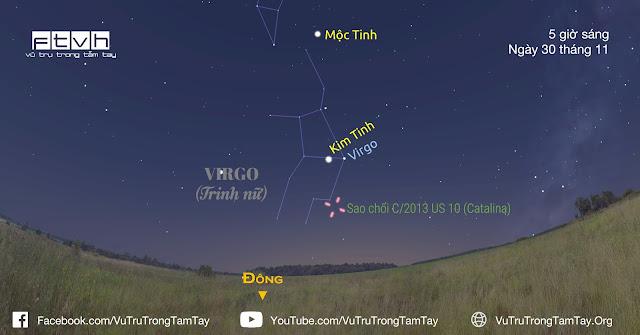 Vị trí của sao chổi Catalina vào sáng sớm ngày 30 tháng 11 năm 2015.