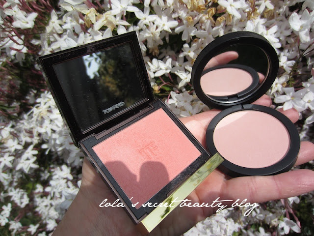 lola's secret beauty blog: Tom Ford Beauty Cheek Color in Frantic Pink & Giorgio Armani Sheer Blush No. 2 Pink Side by Side- Swatches