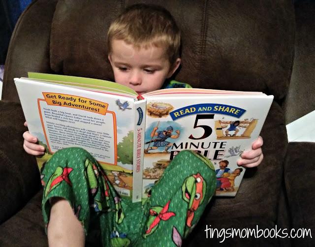 boy reading five minute bible stories