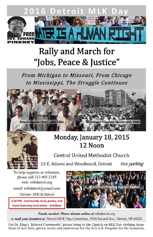 13th Annual Detroit MLK Day Rally & March, Mon. Jan. 18, 2015, Noon-5:30pm