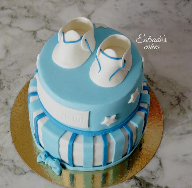 tarta de bautizo para Pablo, con fondant - 1