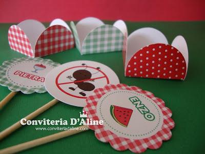 forminhas toppers decoração festa picnic