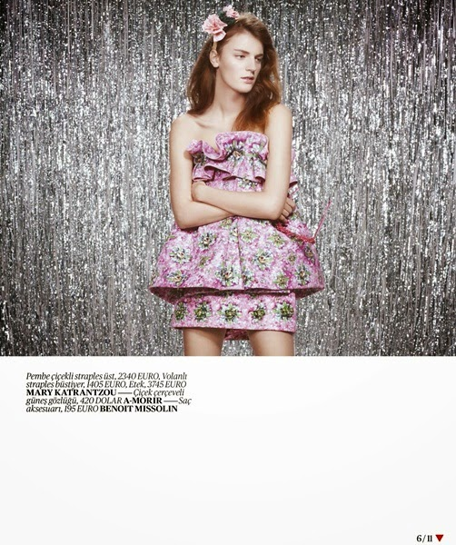 Mary Katrantzou Spring 2014 Editorial: Pink Floral Top with Big Ruffles and Skirt