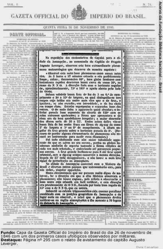 Primer informe OVNI oficial en Brasil de 1846