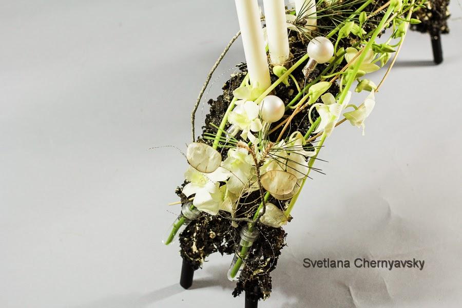 новогодняя флористическая  работа мостик
