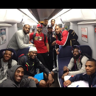 US gold medal-winning men's basketball team taking public transportation at London Olympics