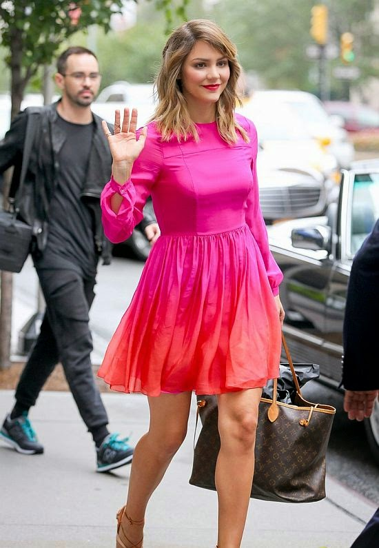 What's up with all this wind, right?? The 30-year-old opted for a glamorous look as she stepped out for a stroll in the New York City on Saturday, September 13, 2014.
