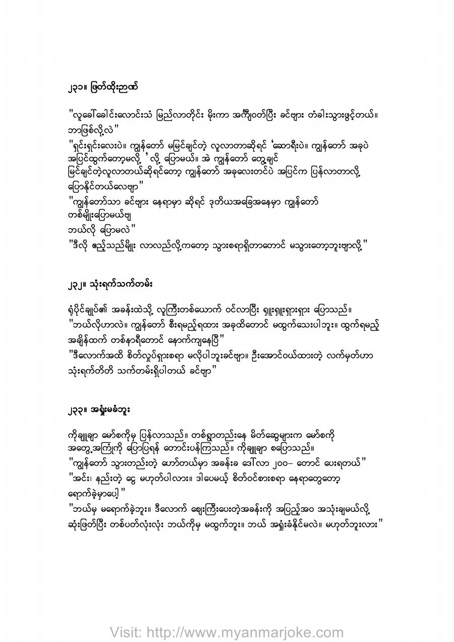 The Wit!!, myanmar jokes