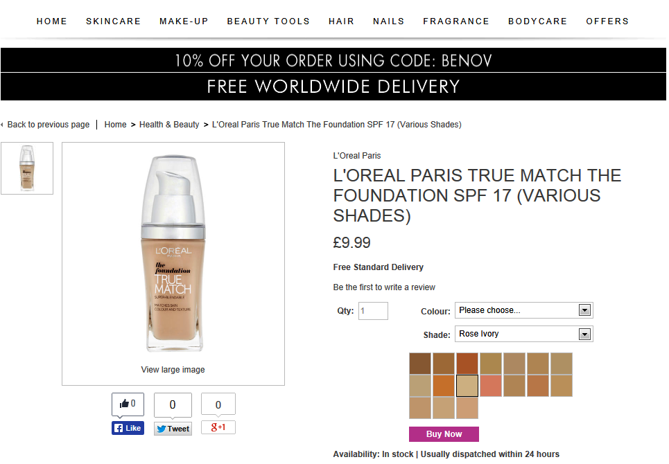 http://go.redirectingat.com?id=58170X1354834&xs=1&url=http%3A%2F%2Fwww.beautyexpert.co.uk%2Fl-oreal-paris-true-match-the-foundation-spf-17-various-shades%2F10844190.html%3Fvwo_ac%3Dtrue