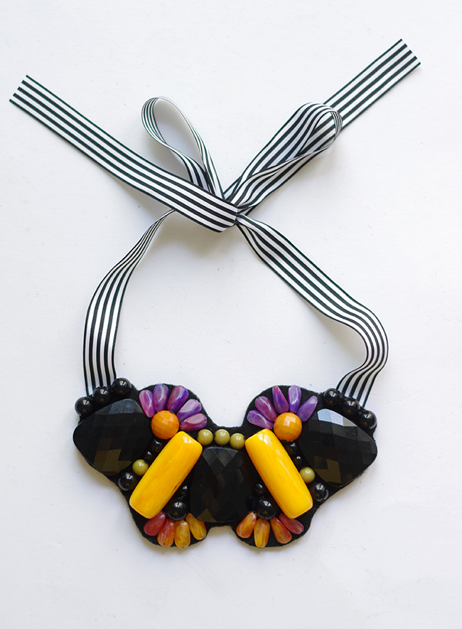 DIY Marni inspired beads-embellished ribbon necklace. By www.fashionrolla.com