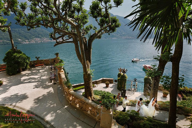 bride arriving at Villa del Balbianello in Tremezzo, Lake Como Italy