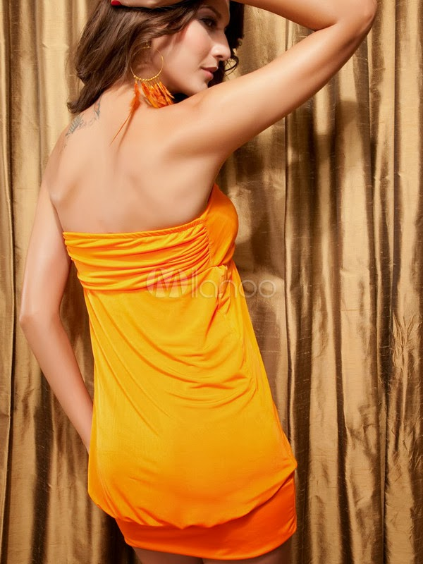 China Wholesale Clothes - Magical Bandeau Orange Mini Dress With Sequins
