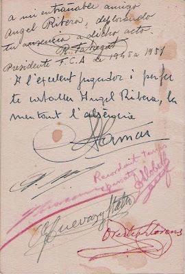 Firmas lamentando la ausencia más que justificada de Ribera en el homenaje a Vicente Almirall de 1958