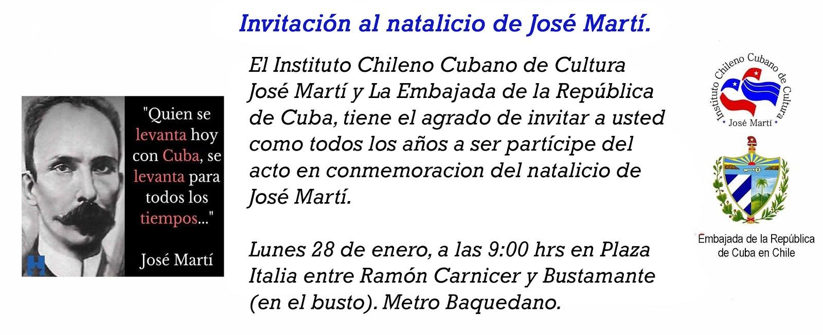 INVITACIÓN ACTO NATALICIO JOSÉ MARTÍ