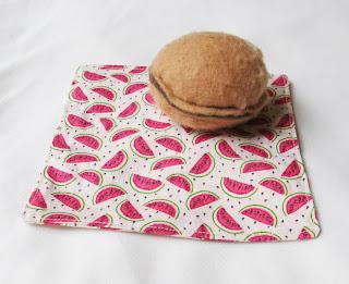image cocktail napkin fabric eco-aware domum vindemia picnic watermelon watermelons fruit pink green cream