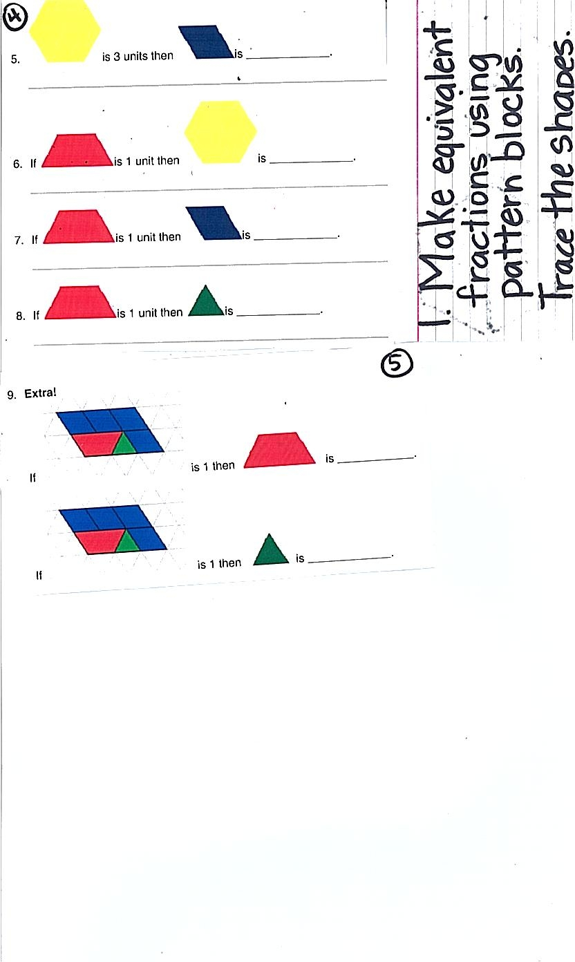 math worksheet : ramblings of a fifth and sixth grade teacher fractions with  : Pattern Block Fractions Worksheet