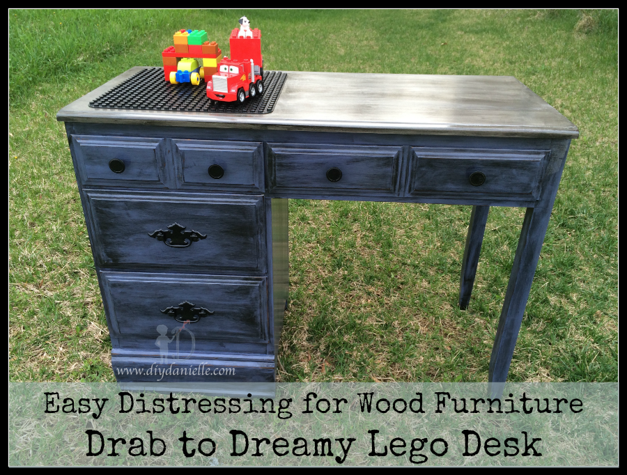 Easy Distressing for Wood Furniture: Drab to Dreamy Lego Desk