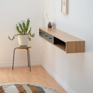 floating console table oak