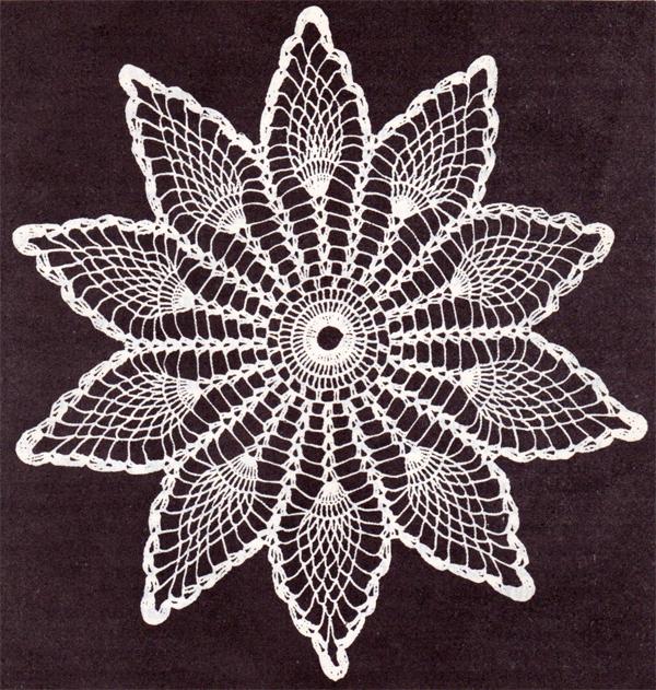 Вязание ажурной салфетки с лепестками крючком. Схема вязания салфетки с лепестками крючком.