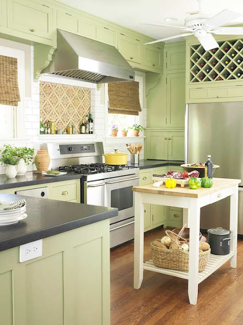 deep green granite countertop green and white polka dot chairs and