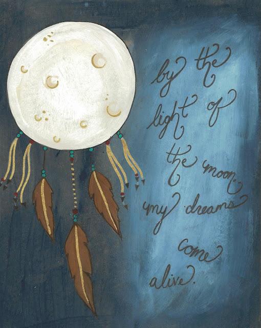 moon dream catcher art print
