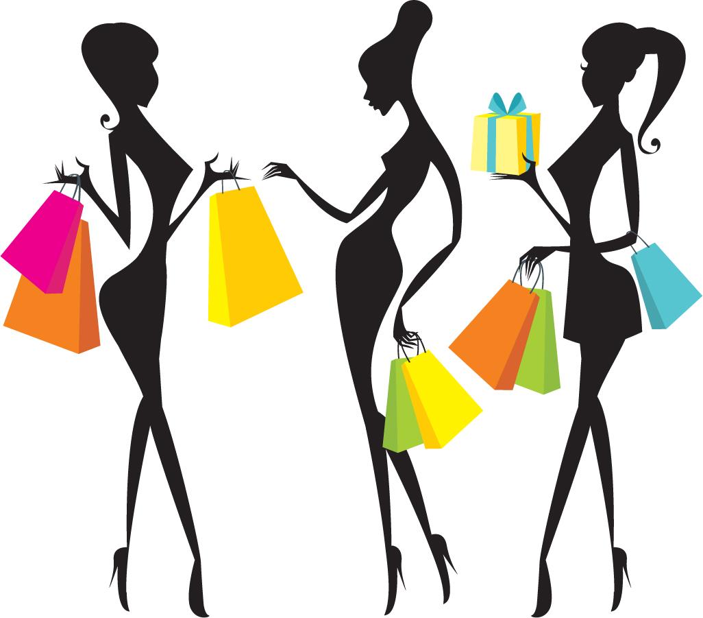 Free Vector がらくた素材庫 買い物を楽しむ女性のシルエット Fashion Shopping Women Silhouettes イラスト素材