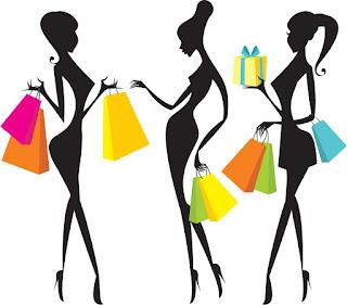 買い物を楽しむ女性のシルエット Fashion shopping women silhouettes イラスト素材2