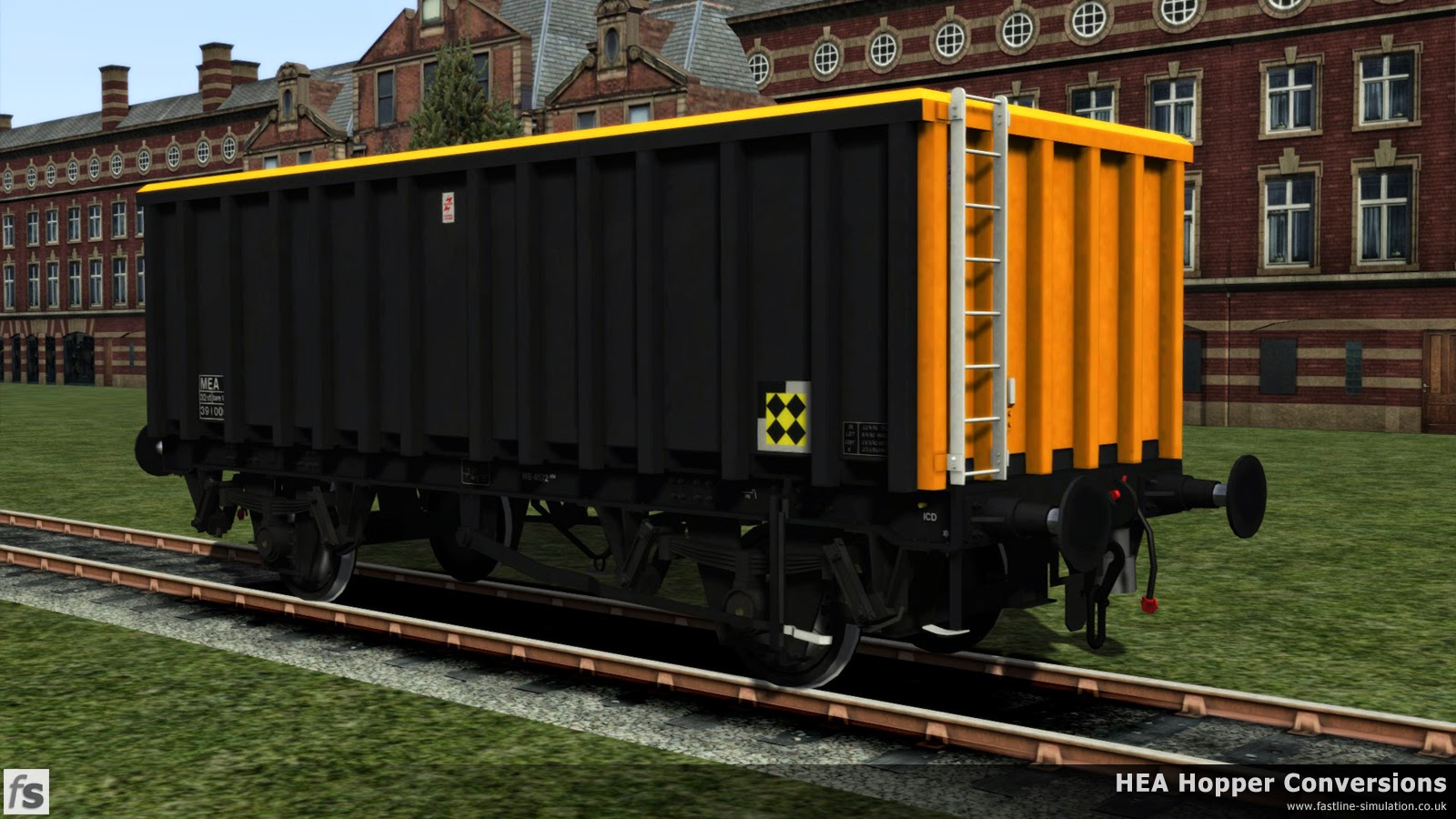 Fastline Simulation - HEA Conversions: The first of the MEA conversions in Railfreight Sector livery complete with Trainload Coal branding poses for the official photographer on the works lawn.