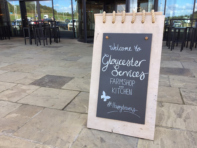 Welcome sign at Gloucester Services
