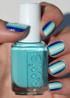 Blue ombre stripes nail art with Essie In the Cab-ana