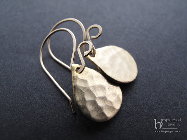 little drops of gold earrings - hammered satin finish 24k gold vermeil drops