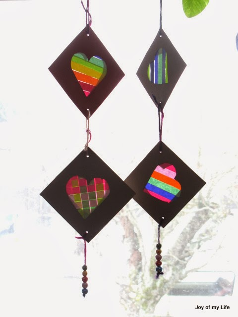 Kids Valentine Craft Colorful Striped Hearts Card Hanging Decoration