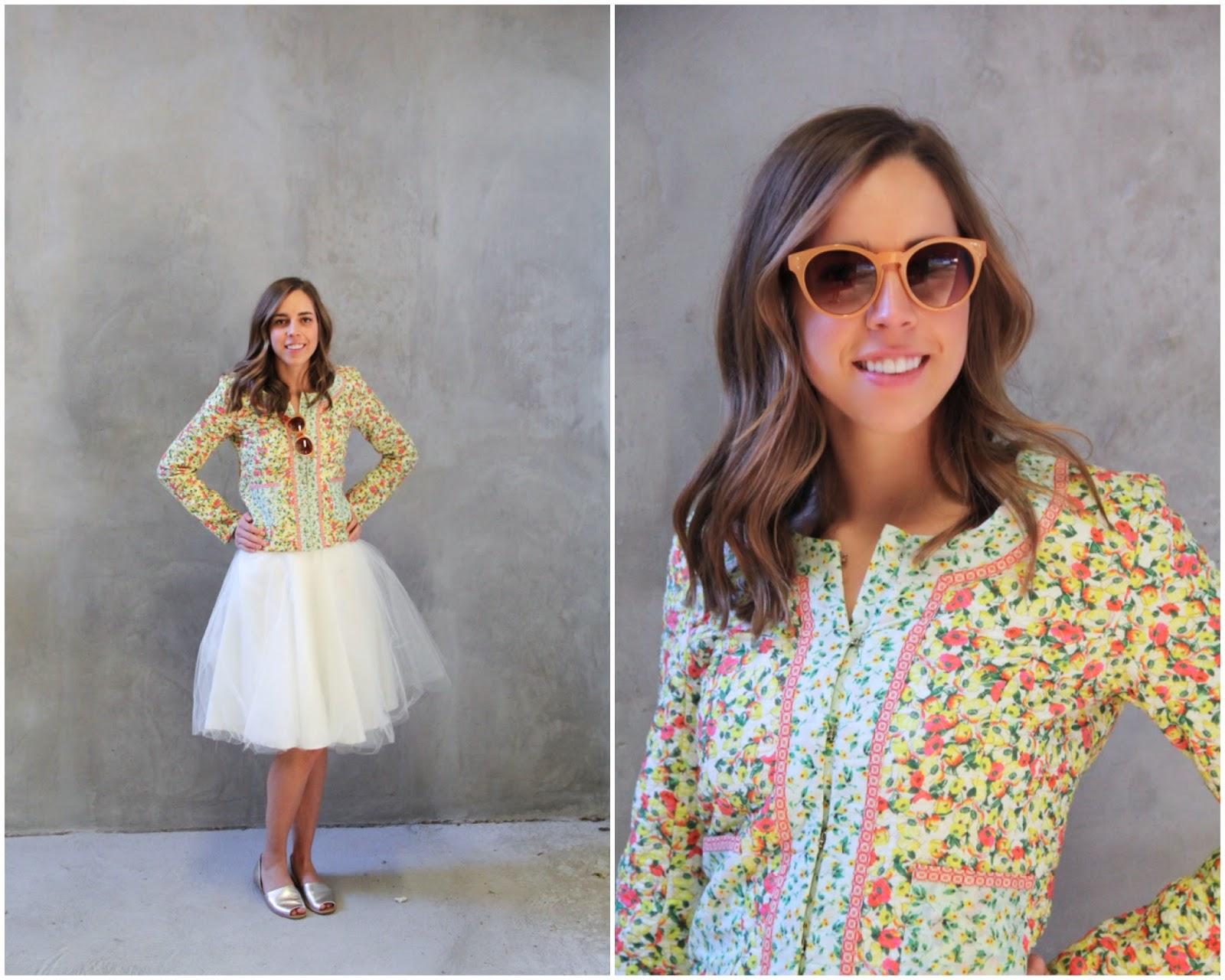 DIY Tulle Skirt, spring fashion, floral print, sunglasses, girl, cream, silver sandals, franco sarto