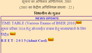 admit card of REET