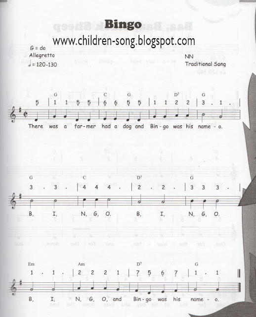 Bingo Children Song with Notes