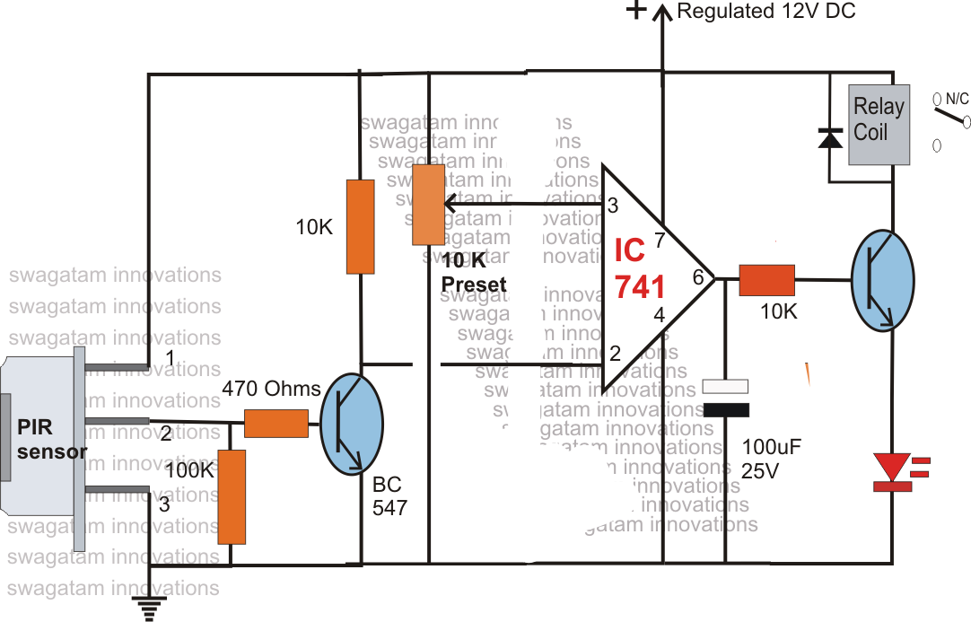 PIR Motion Sensor Circuit Diagram on pir circuit diagram