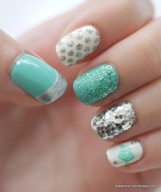 Nail Art Mania: Best Nail Art from web : Turquoise & Silver