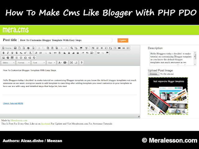 Simple Blogger Type Cms Using PHP, PDO