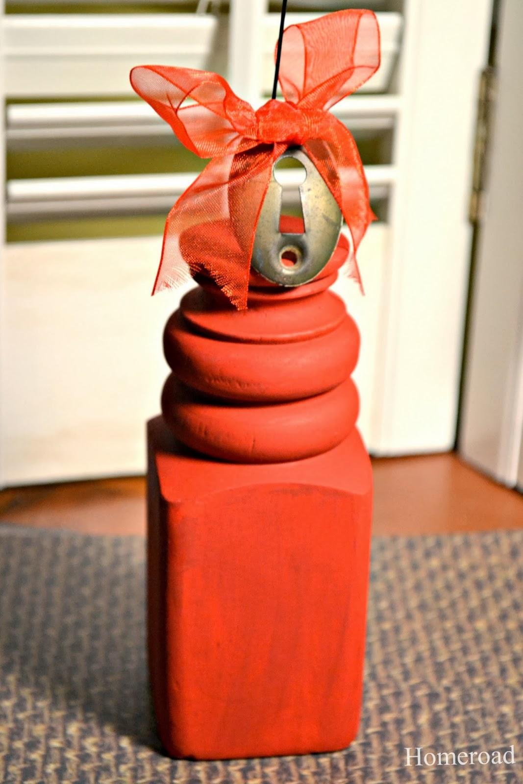 Repurposed Valentine photo holder from chair leg www.homeroad.net