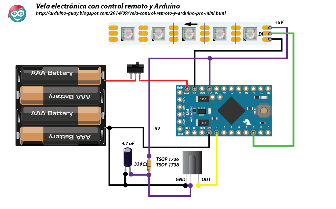 Scheme  Candle with remote control and Arduino Pro Mini